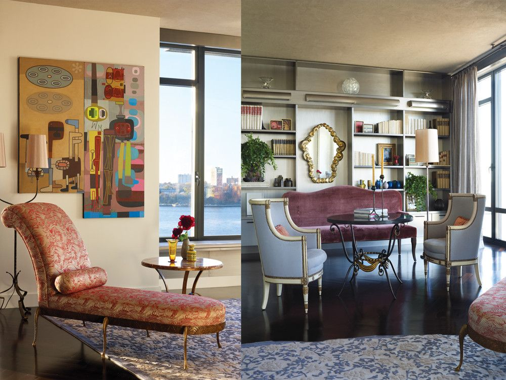 Left: A 1990s daybed from Franck Evennou stretches out below a colorful David Storey painting. Right: Enveloping 19th-century bérgères from H.M. Luther contrast with a Phoenix Upholstery settee in Lee Jofa fabric, a René Drouet table from Bernd Goeckler Antiques and a 20th-century mirror from Harbor View Antiques.