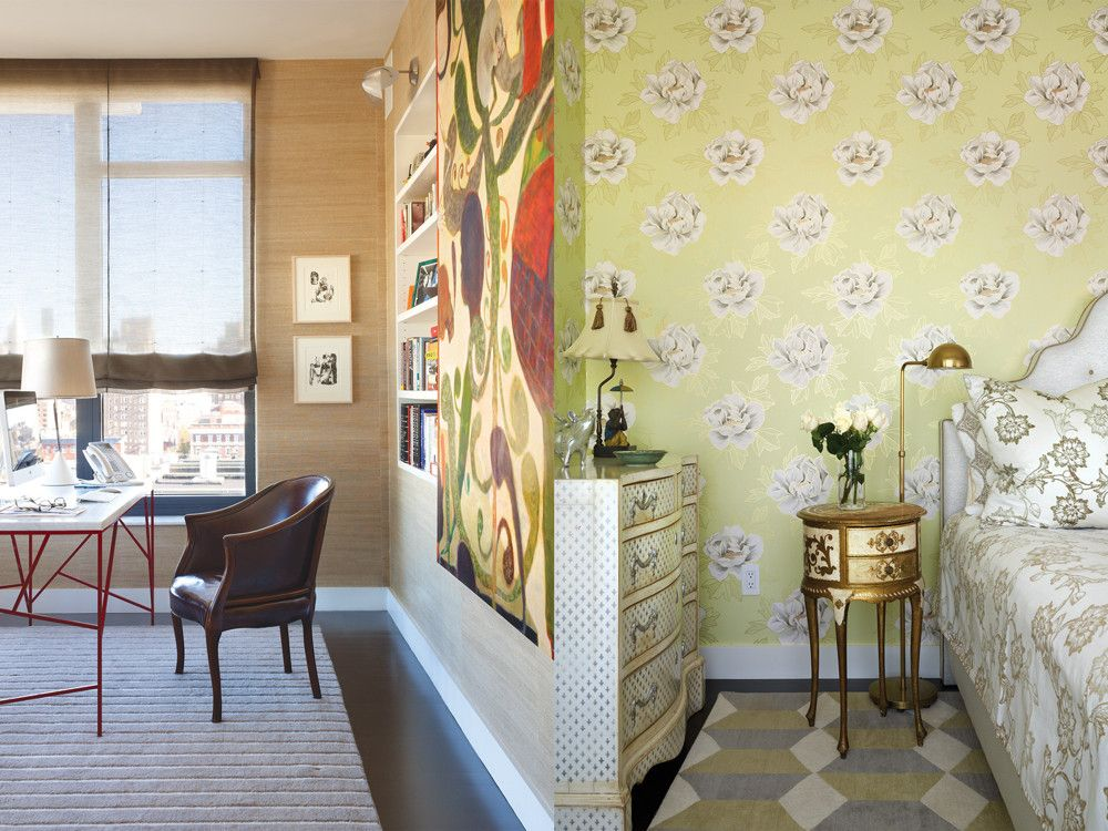 Left: A Ryan Mosley painting greets visitors to the office, where Siskin paired a Pace desk with a chair from Vince Mulford Antiques in Hudson. Right: In a girl's room, Siskin toned down the frilly Marie Antoinette-like furniture and Osborne & Little wall covering with a geometric Odegard rug.
