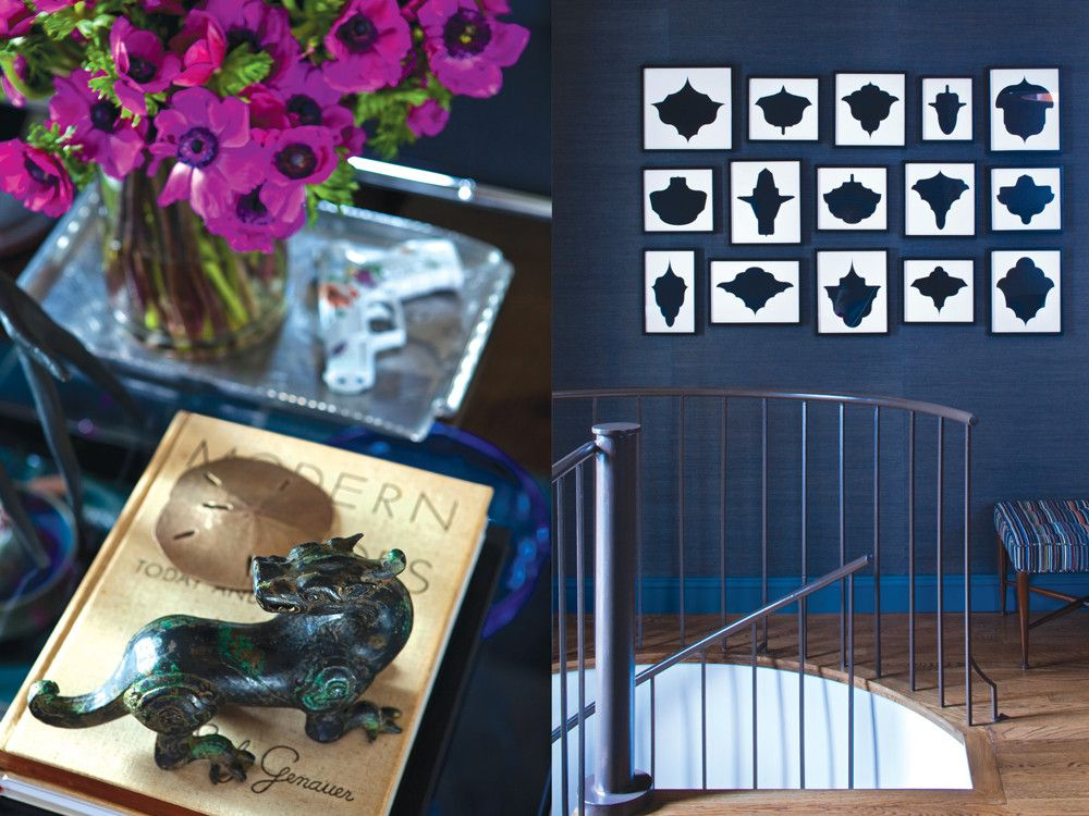 Left: Artifacts and books from the owner's collection. Right: Collection of 15 Drawings, 1988/1991, by Allan McCollum grace the top of the custom spiral staircase