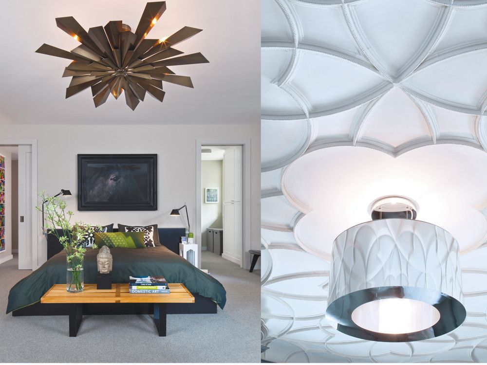 """Left: A George Nelson Platform Bench, Untitled (from Harmony Sisters Series) 2005 by Esko Männikkö, and a Tony  Duquette """"California Sunburst"""" chandelier help to create a more subdued spirit in the master bedroom. Right: The silver drum of an Artemide light fixture reflects the delicate tracery ceiling."""