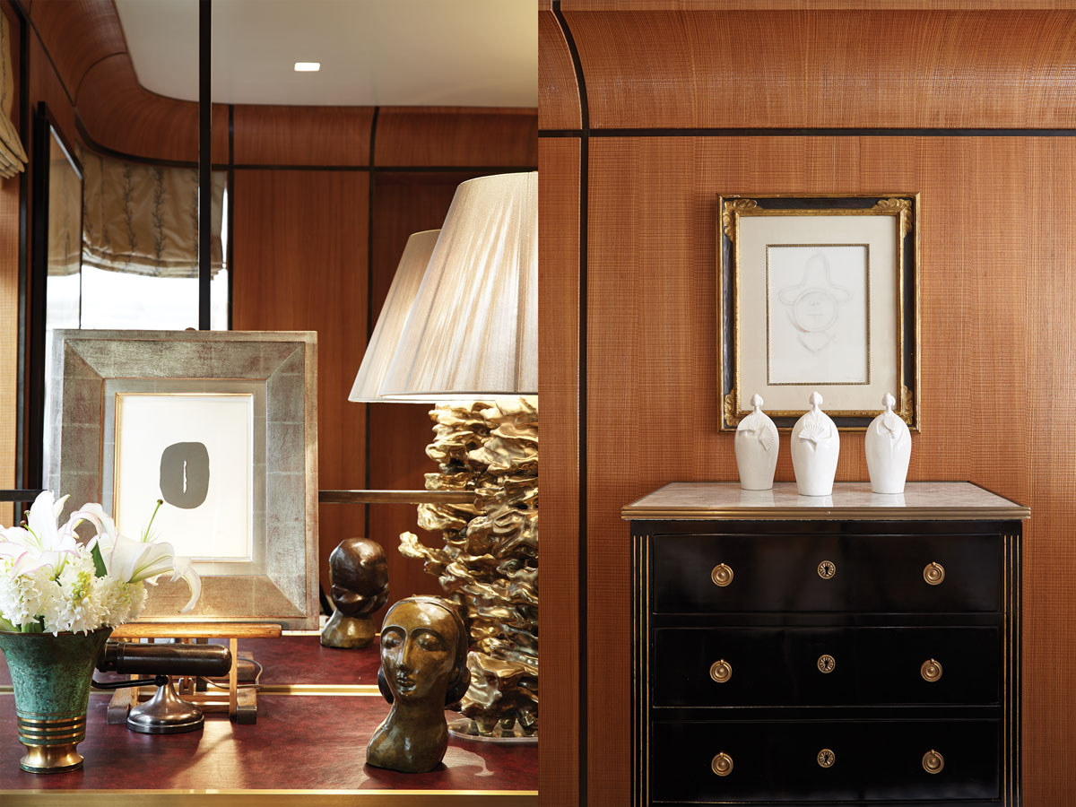 Left: A bedside vignette includes a lamp from Phoenix Gallery, a work by Lucio Fontana, and a Scandinavian vase. Right: A trio of sculptures on a Jansen chest below a Rufino Tamayo work