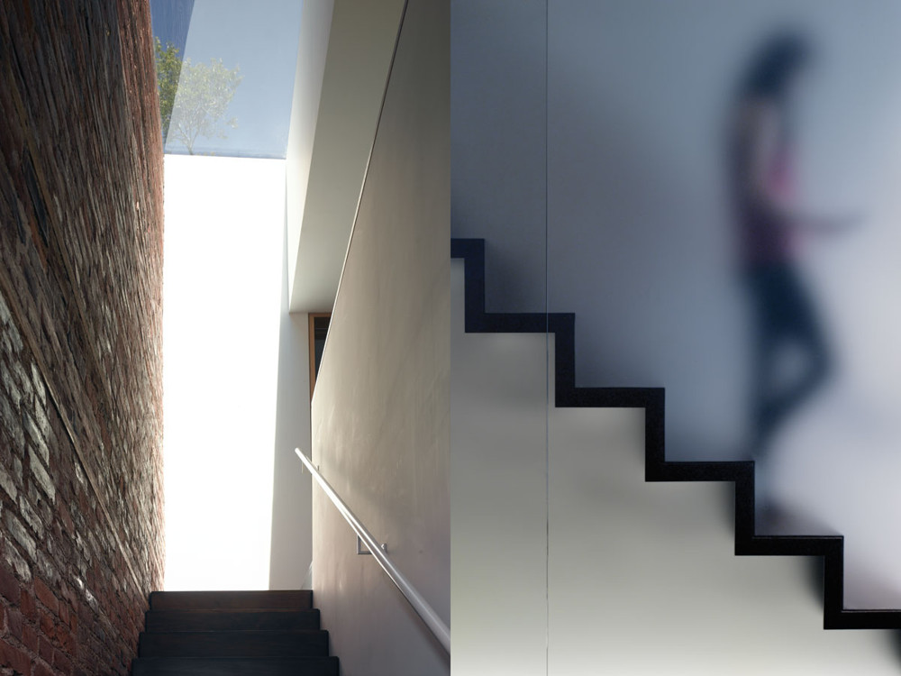 Left: Glazing Vision's custom skylight is an homage to James Turrell, appearing as an aperture to the sky. Right: The architects designed the bronze-tinted glass wall and walnut stairs.