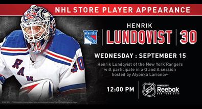 The NY Rangers' Henrik Lundqvist Appears at NHL Store Powered by Reebok Wed. Sept. 15th
