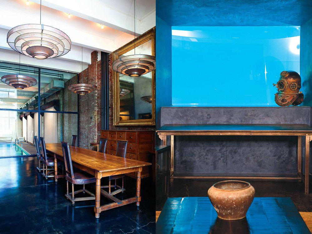 """Left: On the second floor, an interior window wall separates the capacious office from the pool. The large pendant fixtures are from the set of """"Blade Runner"""". Right: The view from the entry lobby terminates in this window into the depths of the pool; Nispel says many people mistake it for a hologram."""