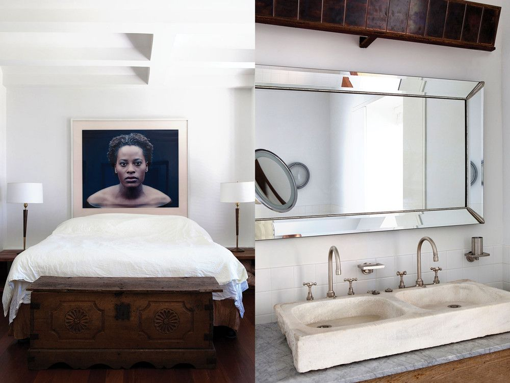 Left: The fourth-floor master suite floats out over the living/dining/kitchen area below. A compelling portrait of Dyan Nispel by German photographer Roland Fischer hangs dramatically over the bed. Right: The old stone double sink in the fourth floor's master bath is a travel find brought home from the south of France.