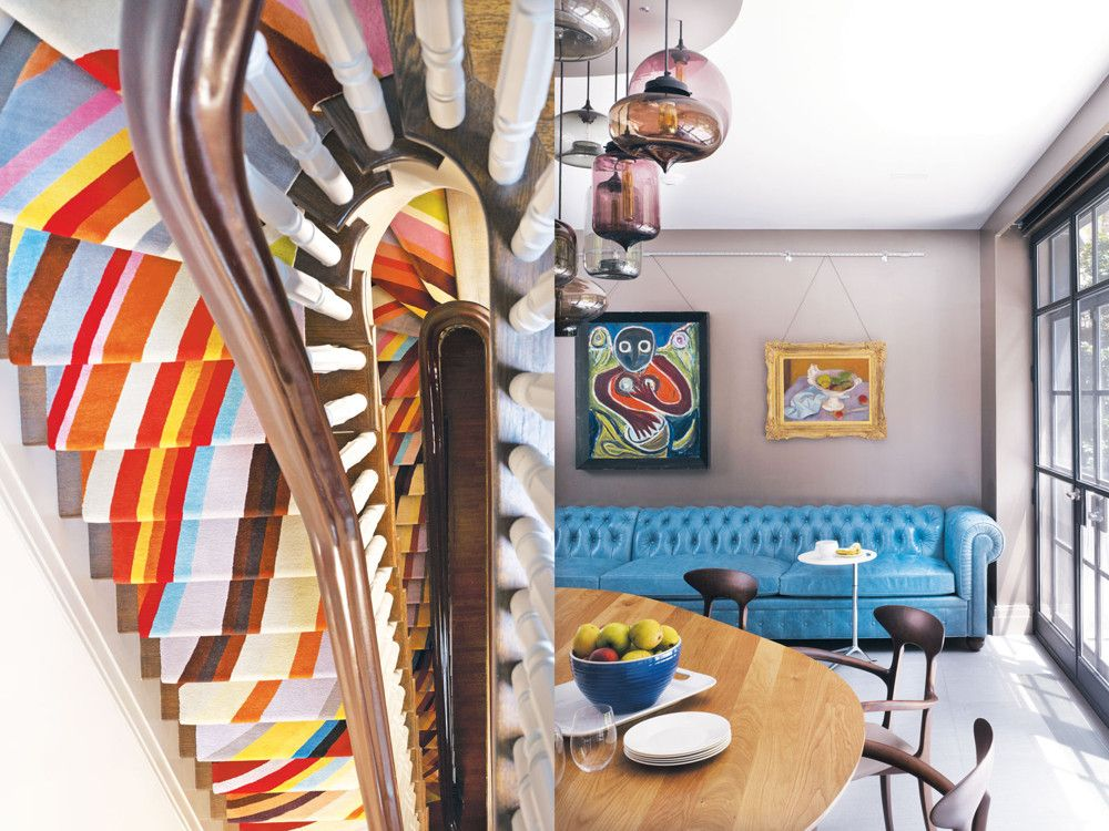 Left: In a bold, head-turning move, Sidnam covered the stair treads in Paul Smith's signature Swirl carpet. Right: Out-of-the-ordinary shapes, colors, art, and materials commingle beautifully in the light-filled kitchen/breakfast room.