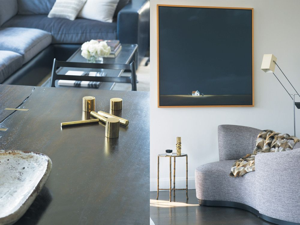Left: S-shaped sofa from Sonneman. Right: Coffee table from Wyeth.