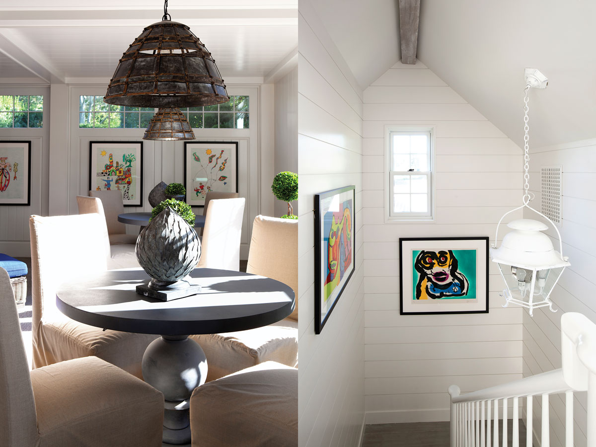 Left: The indoor-outdoor zinc tables serve multiple functions, from bridge games to a place for appetizers and cocktails during parties. Pearson bought the unique light fixtures in San Miguel de Allende, Mexico. Right: The stairwell features hanging lanterns from Ralph Lauren Home and colorful works by Karel Appel