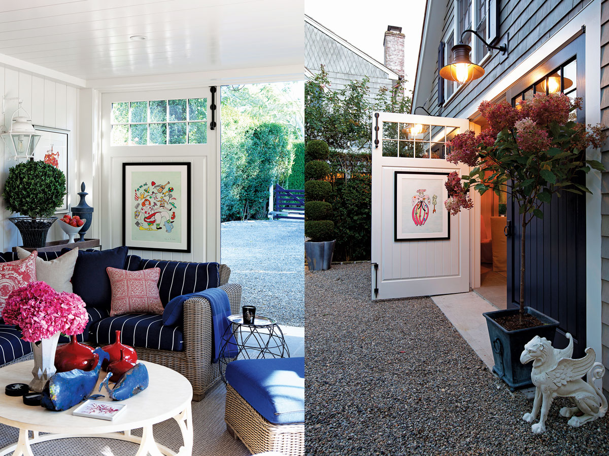 "Left: A whimsical print by Niki de Saint Phalle brings out the colors that punctuate the carriage house, which also features ""fantastical"" botanical prints by Salvador Dali. ""For me, it's all about keeping myself visually active,"" says Jack Pearson, ""so it's either through the garden during the spring, summer, and fall and then my art in late fall, winter, and early spring. It's a way to keep alive mentally and soulfully."" Right: Carriage doors open the space for indoor-outdoor entertaining."