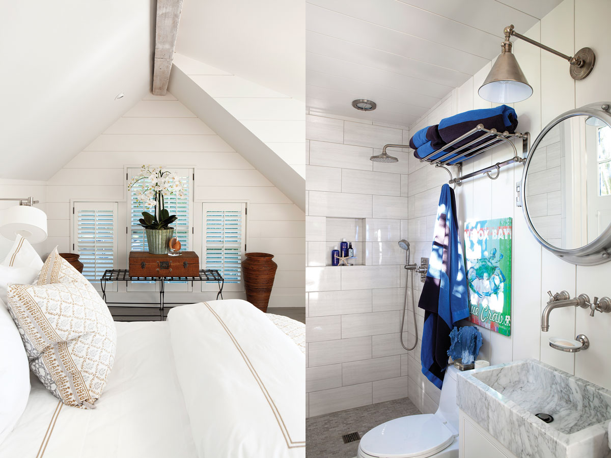 Left: The charming guest bedroom under the eaves. Right: The white-tiled bathroom has bright blue accessories.