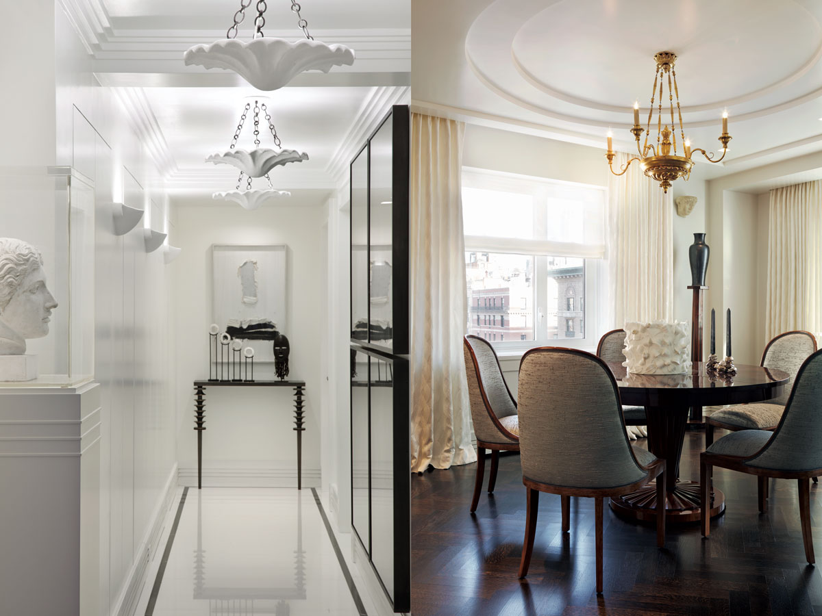 Left: In a long corridor, Juan Montoya designed Serge Roche-like plaster pendants and sconces, all fabricated by artist Nina Helms. The iron console, by Metalworks, is also his design. Above it is a work by Swedish artist Rune Hagberg. Right: Below the gilded Linden chandelier is a Biedermeier-inspired table (both from Iliad Design) surrounded by deco-style Dessin Fournir chairs in Romo fabric and, atop the table, a vessel by Swedish ceramist Mia Göransson and candlesticks from Gerard Bland.
