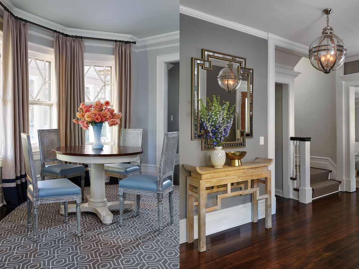 Left: More Bungalow 5 chairs around a Hickory Chair Hudson table reinterpret Louis XVI, and the rug, from Carpet Trends in Rye, refers obliquely to the Victorian diamond-paned windows. Right: In the entry, Arteriors's Chen console and John Richard's beaded mirror recall historic Chinese and Deco styles with a fresh edge.