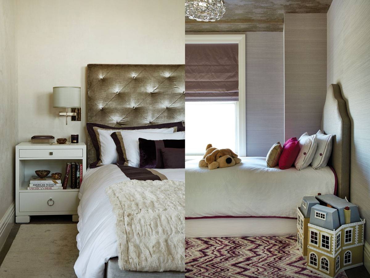 Left: A Mitchell Gold + Bob Williams bed upholstered in custom linens from Casa Del Bianco, Bungalow 5 side table, and Phillip Jeffries suede walls. Right: The girl's room, wrapped in another Jeffries wallcovering and a Designer's Guild paper on the ceiling, features a Stark carpet.