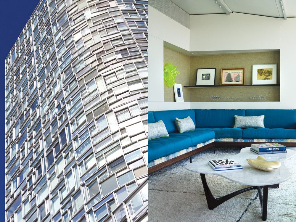 Left: The south and west facades of Jean Nouvel's 100 11th Avenue showcase one of the most technologically advanced curtain wall systems in the city. Different coatings on each tilted window pane refract light in a shifting array of colors. Right: In the living room, silk rugs sewn together in various orientations reflect light and mimic the effect of the irregularly shaped windows