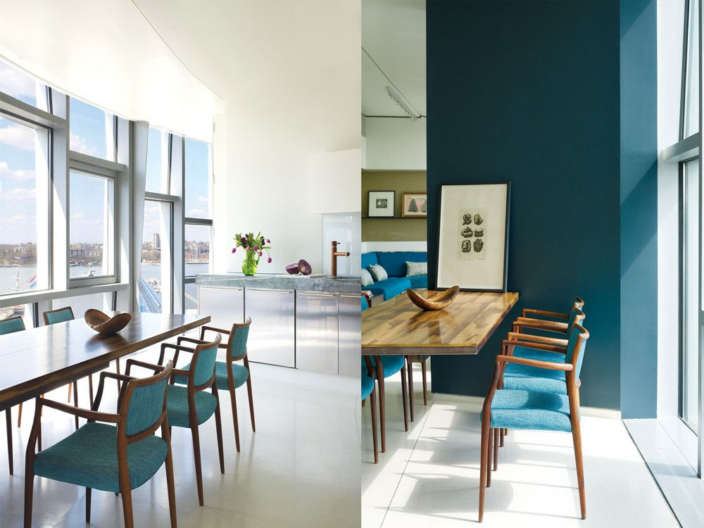 Left: In the kitchen, the designers resculpted the soffit, rebuilt and extended the back half of the kitchen, and added a stone counter top. Right: Enhancing the cantilevered 10-foot dining table is a dark-painted supporting column and rosewood chairs upholstered in a bright blue fabric.