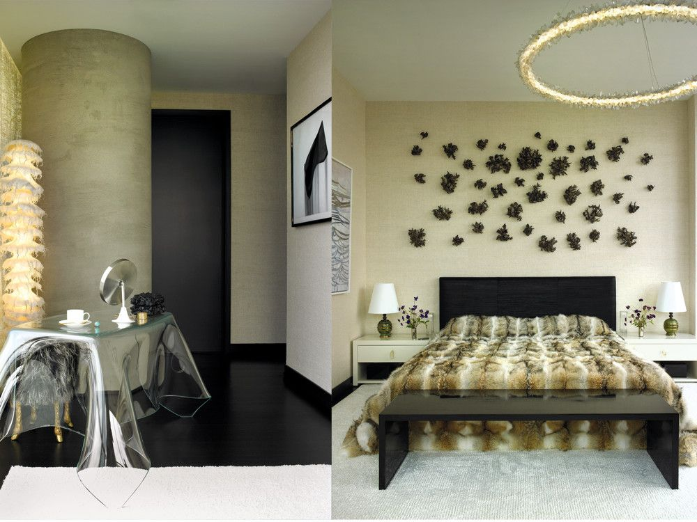 Left: For a dressing area, Mann used a sculptural glass vanity, Mark Bankowsky's bronze-and-fur stool, and Ayala Serfaty's light sculpture, all from Maison Gerard. Underfoot is a rug from Mark Nelson. Right: Finished in a raw-silk wallcovering from Stratum, the master bedroom is a study in 21st-century luxury. Over a custom headboard upholstered in Be Inthavong's black weave hangs the installation of Matthew Solomon's Constellation, with its glazed porcelain branch-like components. Christopher Boots' chandelier consists of magnetized crystal pieces, individually placed. Adding another facet to the crystal theme is Carl Martinez's rock crystal hardware on the custom