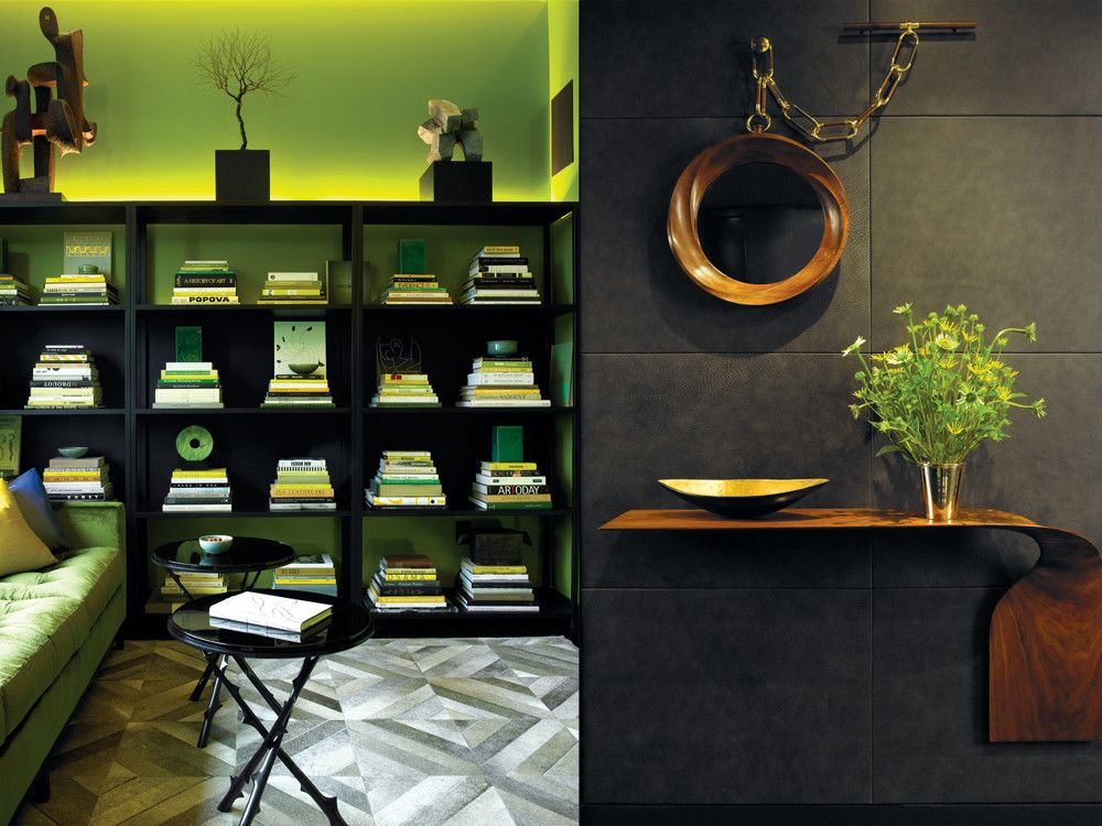 Left: For an element of surprise, Mann lacquered the walls of the library/third bedroom in acid green. Custom blackened-steel shelves topped by an LED strip 