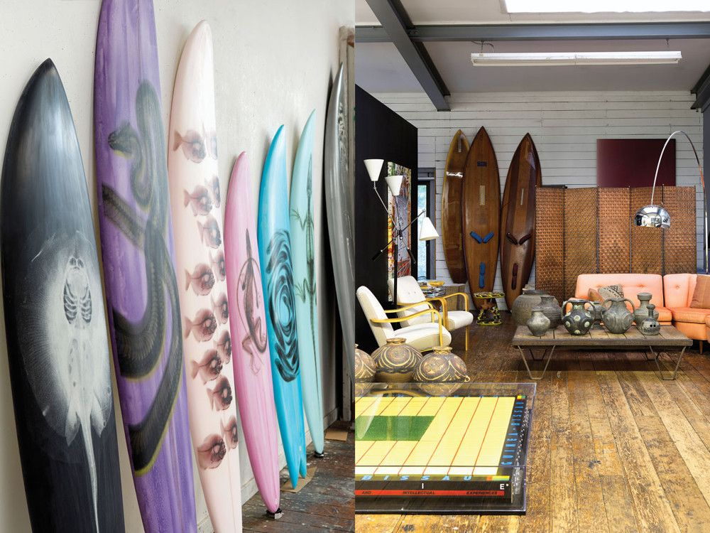 Left: In part of his Health of the Planet series, Miller silk-screened digital X-rays of piranhas, stingrays, snakes, iguanas, fish, and alligators from the Amazon onto his fine art surfboards. Right: Miller slid his Central Orchid in front of an unsightly radiator. Although it nicely offsets the John Chamberlain sculpture on the wall, Miller insists,