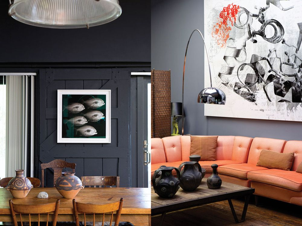 Left: In the kitchen, Miller painted an old barn door in a rich, steely pewter to form a backdrop for his artwork. A digital X-ray of a school of piranhas from the Amazon Basin printed with carbon pigment onto Hahnemuhle paper hangs there now. Right:  Miller kept the living room sofa he inherited with the space and turned an old potato pallet into a coffee table. Above the sofa hangs Immediately Identifiable, a painting by Miller incorporating the Nobel Prize-winning biochemist Rod MacKinnon's models of human proteins and notes for constructing them. Miller has consistently worked at the intersection of art and science.
