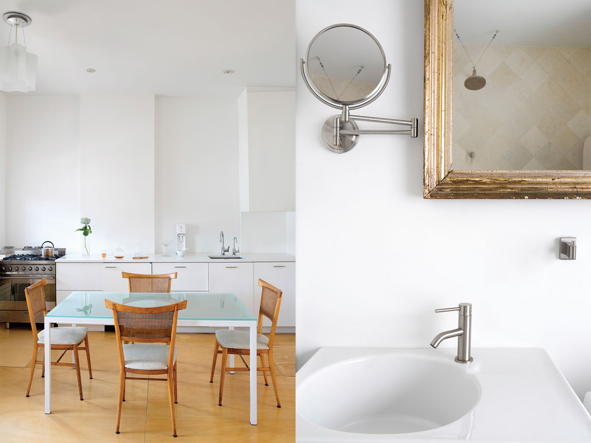 Left: The minimalist dining table by Williamson is surrounded by vintage Paul McCobb chairs. Right: The stark minimalism continues throughout the space.