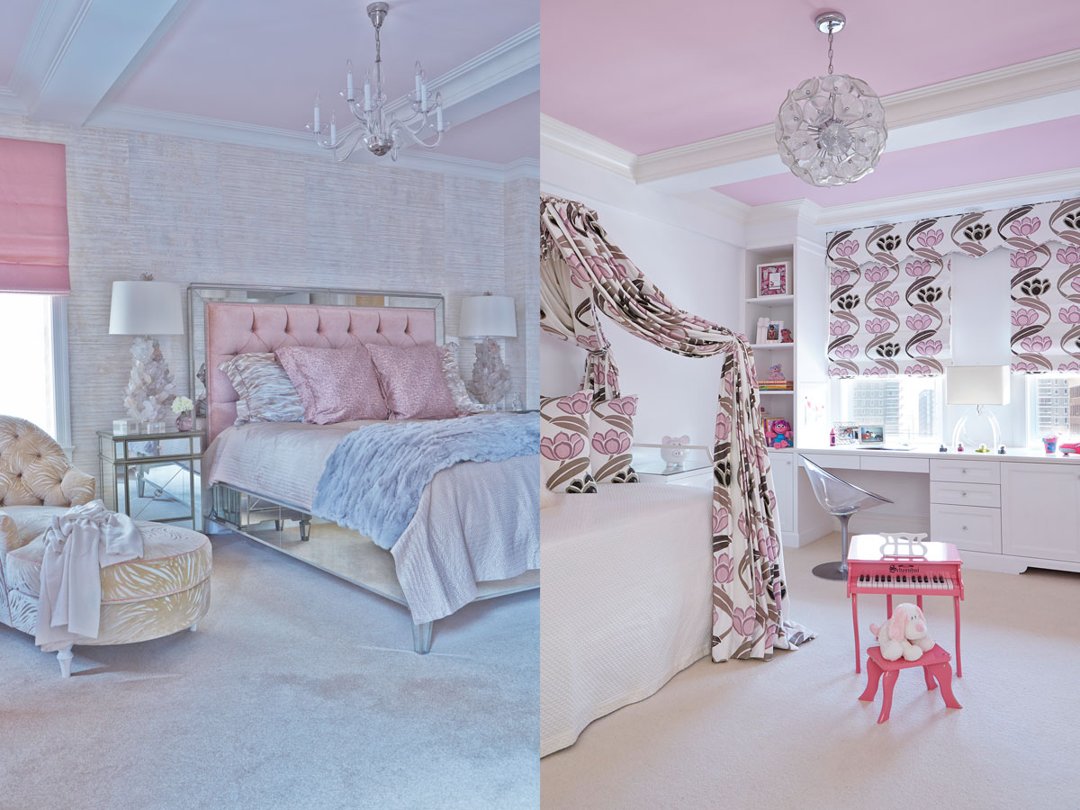 Left: Femininity reigns in the master bedroom, where a custom mirrored bed and Worlds Away nightstands shimmer amid pink and pale blue. Right: More pink, this time with brown, in the girl's room. Osborne & Little shades and bed hangings.