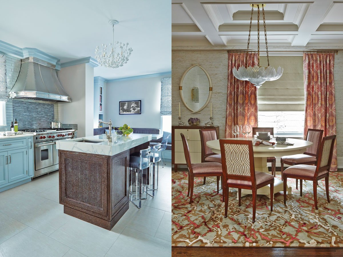 "Left: Design Lush's Chris Cross stools flank the kitchen's Calacatta gold marble-topped island. Artistic tile supplied the backsplash and floor; Wolf created the custom hood. Right: Hickory Chair dining chairs in Fabricut faux snakeskin surround a Century Furniture table under Susanne Hollis's chandelier in the dining room. Underneath, a custom-colored Malene B ""Kerala"" rug."