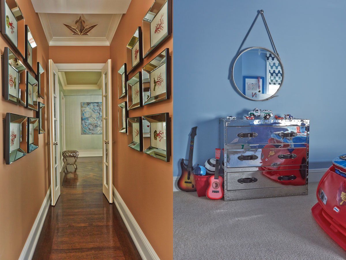 Left: In the terra cotta hallway leading to the bedrooms, framed coral prints march in mirrored frames. Right: In the boy's room a mirrored campaign chest from Andrew Martin commands attention.