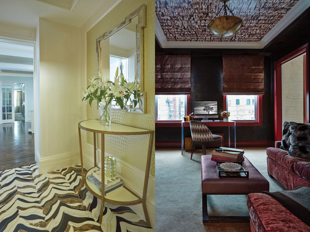 Left: The elevator foyer's striking floor tiles are from Artistic Tile. A Julian Chichester console and a Made Goods mirror complete the look. Right: The library is swathed in wallpaper (Koroseal on the walls, Bergamo on the ceiling). A Zimmer & Rohde velvet covers a sofa from Kings Road.