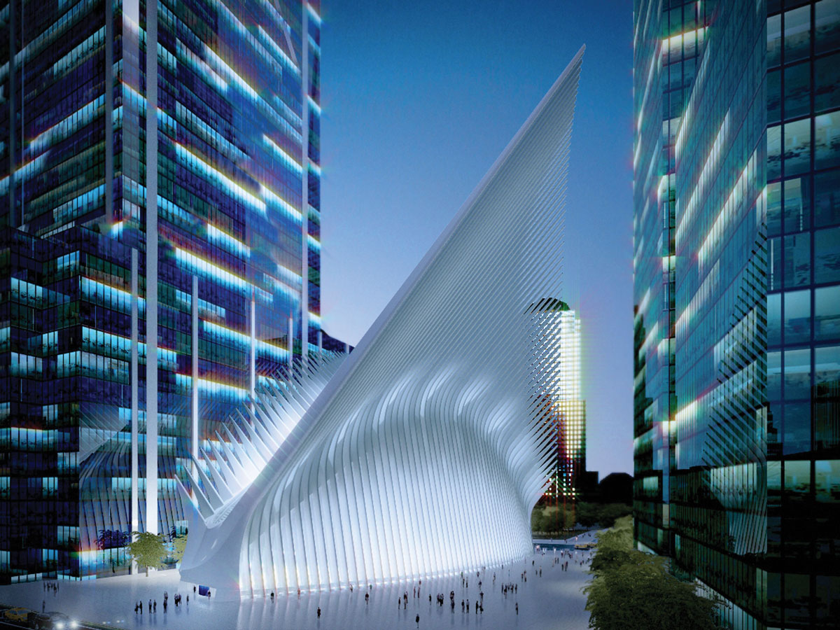 A rendering of the highly anticipated Calatrava transportation hub, incorporating Westfield World Trade Center.