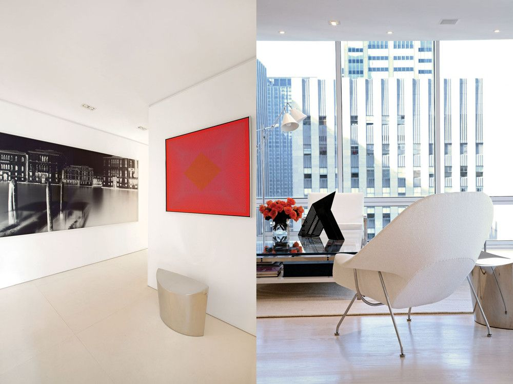 Left: Facing off elegantly in a hallway are Vera Lutter's recent panoramic urban portrait, Venice, and a Richard Anuszkiewicz canvas from 1965. Right: A custom rug from Mark Nelson Designs anchors a living room seating area.