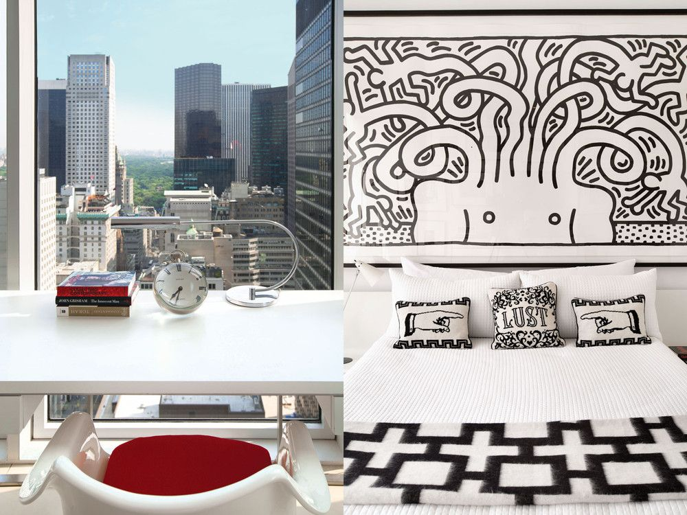 Left: For the client's home office, Latham designed a custom desk; the clock is Tiffany; the desk chair, one of Eero Saarinen's Tulip arm chairs for Knoll. Right: In the guest bedroom, a powerful black-and-white piece by Keith Haring dominates the wall over the bed, setting a bold, irreverent, cheeky tone that the throw pillows complete.