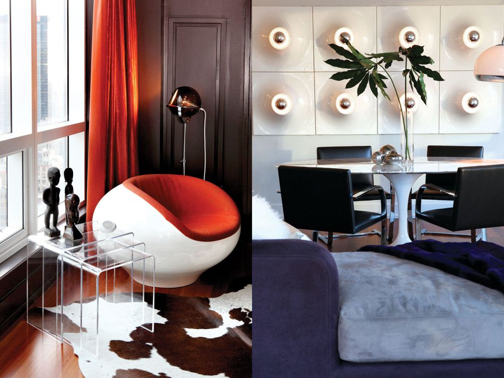 Left: The lounge chair has an extroverted '70s appeal and fills the corner. It makes an even greater impact set against nesting Lucite tables, a cowhide rug, and one of Abrams' own vintage lighting pieces brought from the West Coast. Right: The dining area is the main focal point of the room. A Saarinen Tulip table, with marble top, and Mies' Brno chairs, are set in front of a feature wall of Pantone light panels.