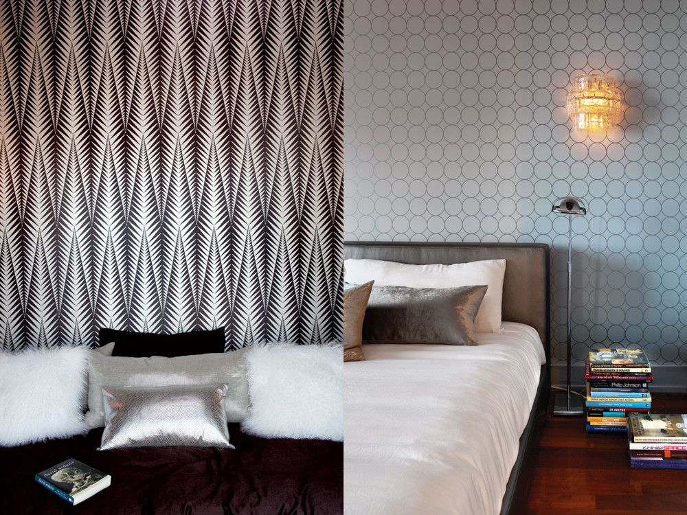 LEFT: In the guest bedroom, Stark's brown-and-silver wallcovering sets quite an eye-catching tone. A custom bed with multi-textured pillows completes the experience. RIGHT: In the master bedroom, a custom bed (produced by I.Z.A. Furman and upholstered with Pollack's