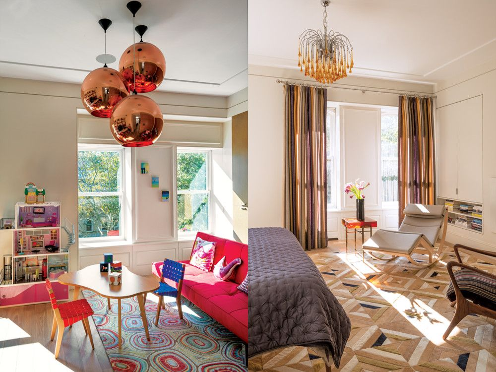 Left: The childrens' playroom is brightened with Tom Dixon's bronze pendants. Child-size versions of Alvar Aalto's desk and chairs and a Ligne Roset sleep sofa provide comfortable seating. Right: The windows in the master bedroom are dressed with fabric by Rodarte for Knoll. A custom leather and cowhide rug by Kyle Bunting covers the floor. Cassina's chaise longue, a reissue of a Franco Albini design, is flanked by a cast resin and bronze table from Ironies.