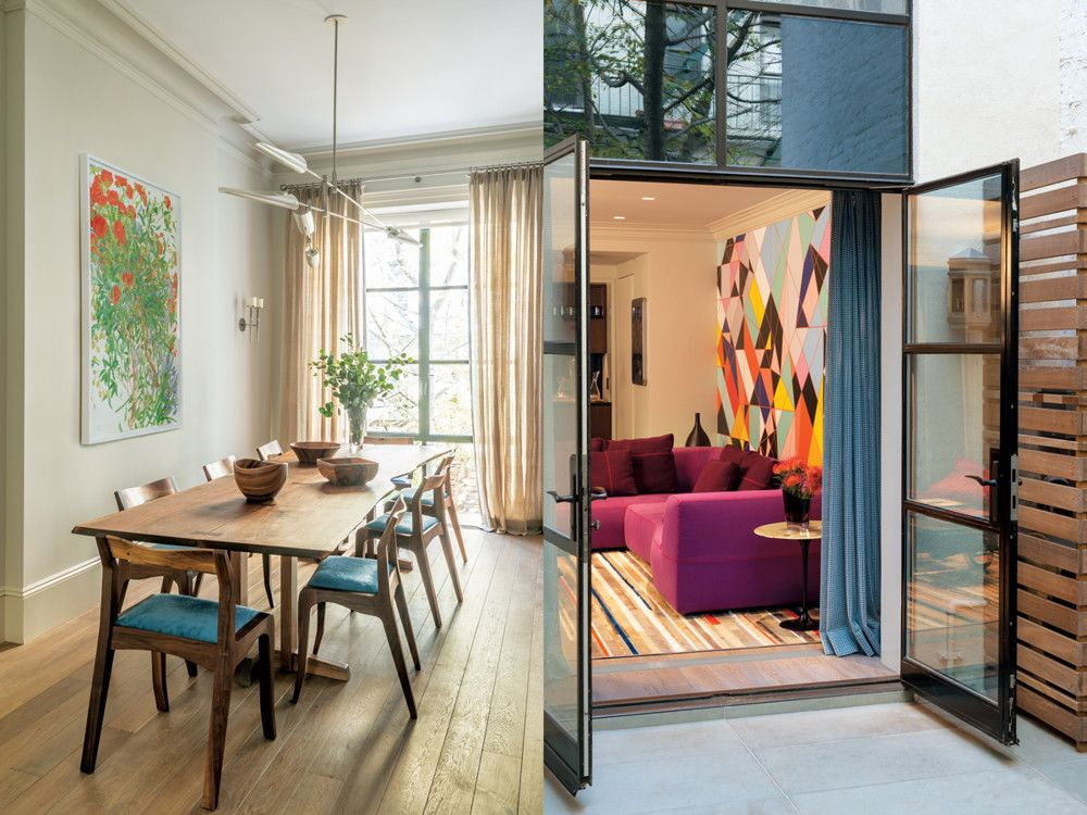Left: In the dining room, a Mira Nakashima table is flanked by chairs from Brooklyn maker Eric Manigian. The chandelier is from David Weeks. Right: On the lower level, the family room is furnished with B&B Italia's Bend sofa by Patricia Urquiola. Behind it is a Maharam Digital Products mural by English artist SarahMorris.