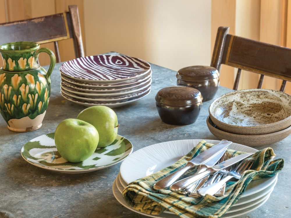 Most of the dinnerware is Korean pottery from GAMA Pottery, a shop in NoHo. The couple mixed in white ware from Finn Ceramics as well as pieces from Pottery Barn.