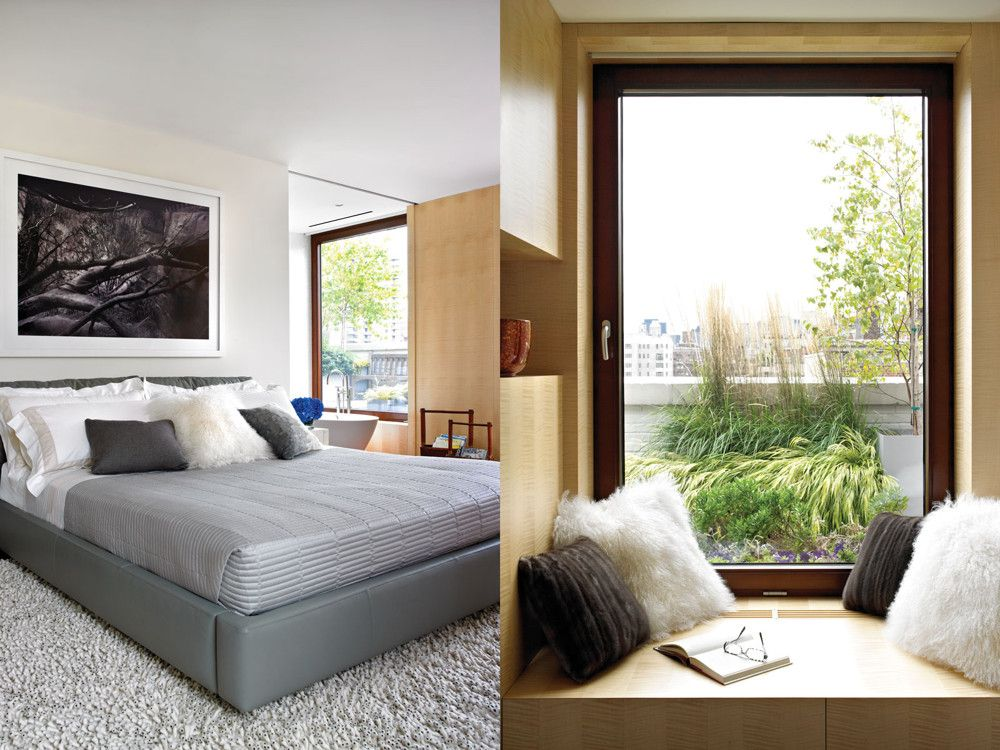 Left: The master bedroom's carpet of cocoon-like fibers makes sly reference to shag rugs, while Martin Kruk's photo above the Frette-dressed leather bed keeps it contemporary. Right: Pillows of Mongolian lamb and a recycled mink coat warm up a window seat.