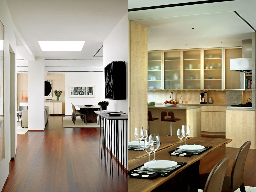 Left: A Louise Nevelson work graces a console commissioned from designer-craftsman Howard Meister. The cherry floor's tongue-oil finish enhances natural grain and color. Right: KK Design of Pequannock, New Jersey fabricated all sycamore millwork, including the kitchen cabinetry, here complemented by poured-in-place concrete counters and Poltrona Frau's stools.