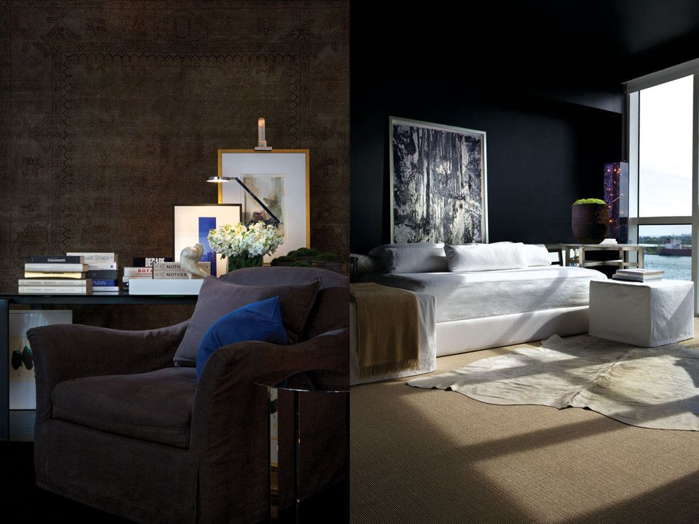 Left: In one corner of his New York living room, he's carved out a corner for his office. An easy chair from Verellen provides the seating. Right: An inviting guest bedroom in Miami Beach has a daybed and ottoman of Dawkins' design. A sisal carpet provides a neutral backdrop for the cowhide rug. The painting is by Richard Giglio.