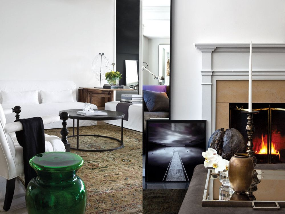Left: The custom coffee table has iron legs and a reclaimed wood top. Right: An antique lens sits atop the mantel.