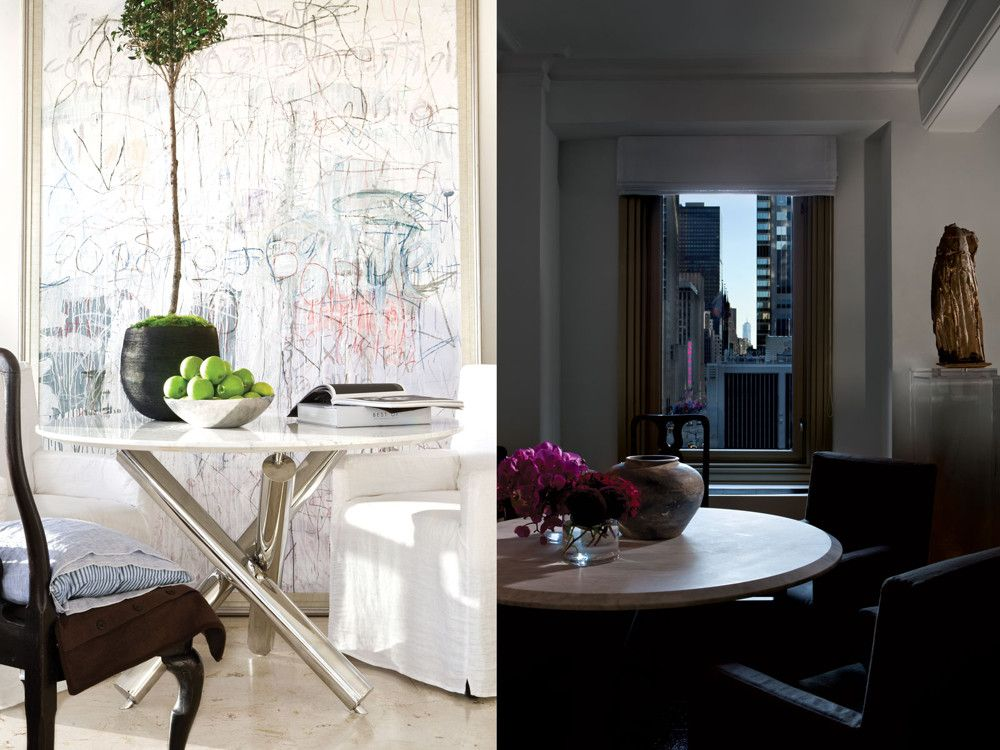 Left: A painting by Richard Giglio dominates one wall in Dawkins' Miami Beach living room. A Queen Anne chair faces Fabienne, a chair of his own design that's dressed in white linen. Right: In Manhattan the same Fabienne chair is covered in a dark chintz. A 17th-century Bishop chair provides a stylish counterpoint.