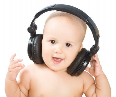 baby wearing big headphones