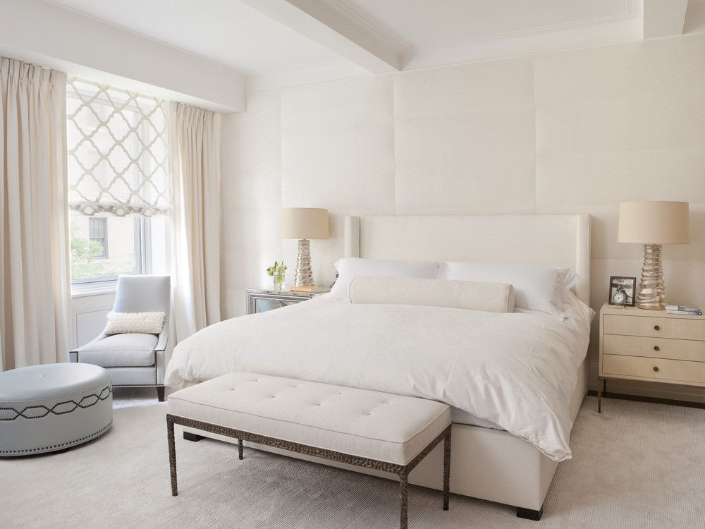 Soft neutrals create calm in the master bedroom.