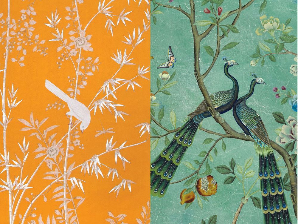 LEFT: Portman, a chinoiserie, is shown in a special colorway on deep orange Williamsburg paper.  RIGHT: A delightful east-meets-west scenic, St. Laurent is shown here in a standard colorway on dyed paper.