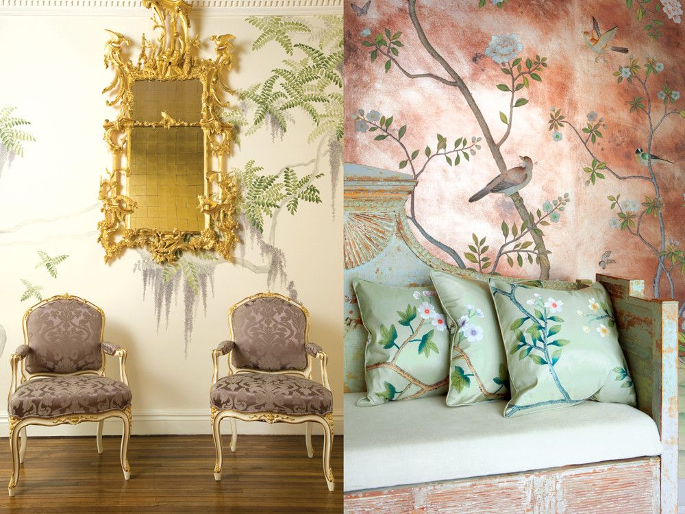 Badminton, another chinoiserie, on gilded paper. Wisteria pattern creates a dreamy backdrop for the firm's hand-carved mirror and silk damask-upholstered chairs.