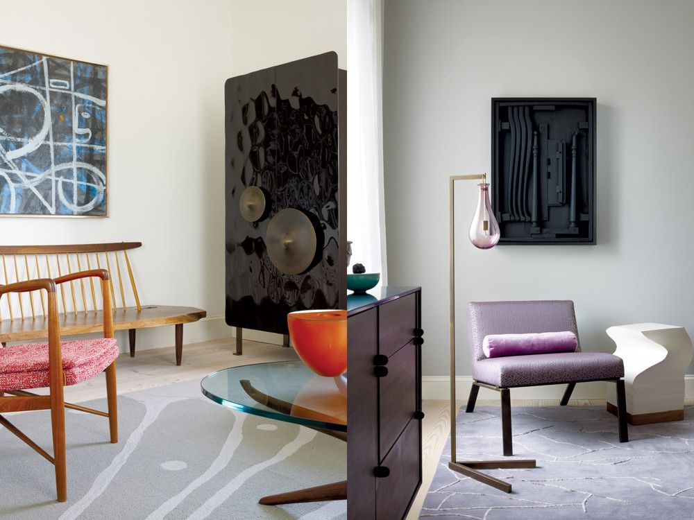 Left: In a living room corner, Trajectory by Adolph Gottlieb (1954) converses with a Vladimir Kagan coffee table and a Patrick Naggar Cosmos cabinet from Ralph Pucci. Right: In the master bedroom, a Romo fabric upholsters a chair by Pilar Proffitt and Robert Bristow from Ralph Pucci. Custom bolster pillow in Andrew Martin silk fabric. The side table is a giant (functional) paper pad called Munken Cube by E15. On the wall is a Louise Nevelson 