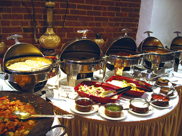 The buffet at Darbar Indian Restaurant in NYC
