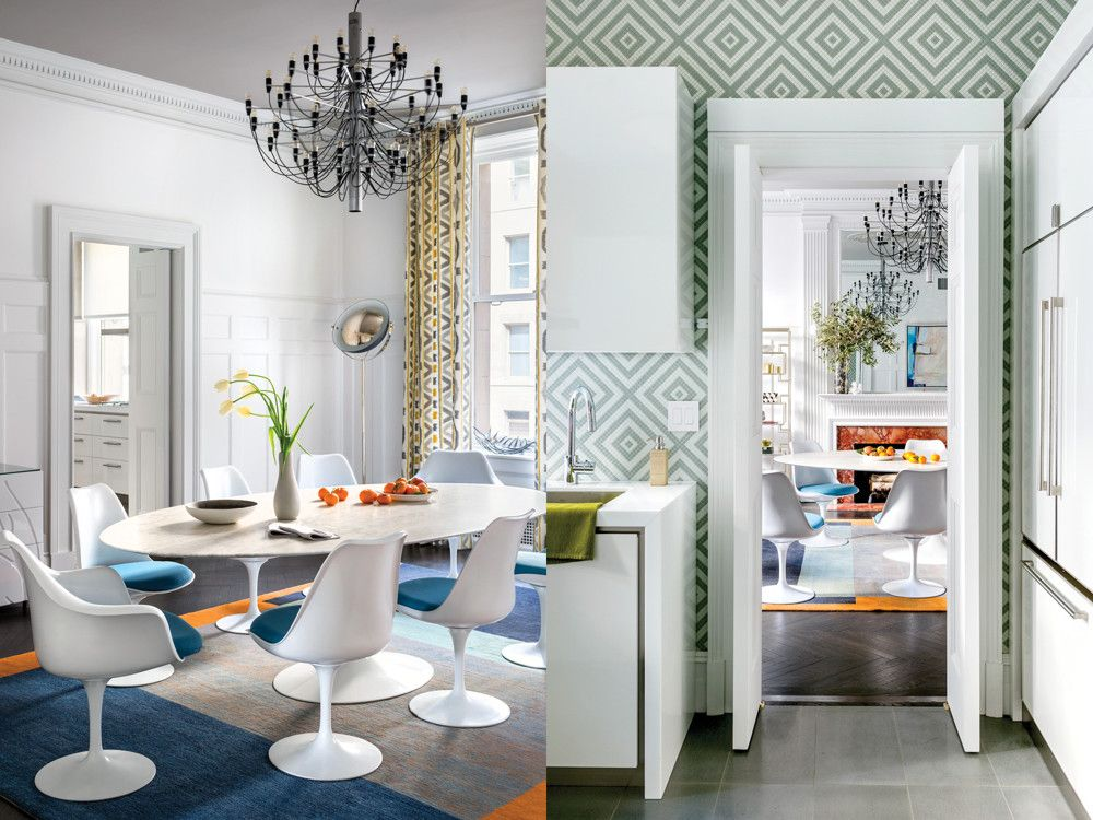 Left: In the dining room, a Gino Sarfatti 1950s light fixture melds beautifully with the marble-topped Saarinen dining table and chairs and Warp & Weft's color-blocked Horizon Adriatic rug. Right: Glass mosaics in a custom gray and white geometric pattern on the kitchen walls and light charcoal porcelain floors add layers of sophistication.