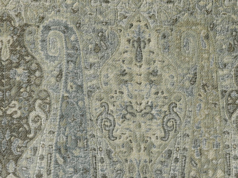 Talisman, a damask-style linen capturing the richness of an Italian fresco, in Thunder.