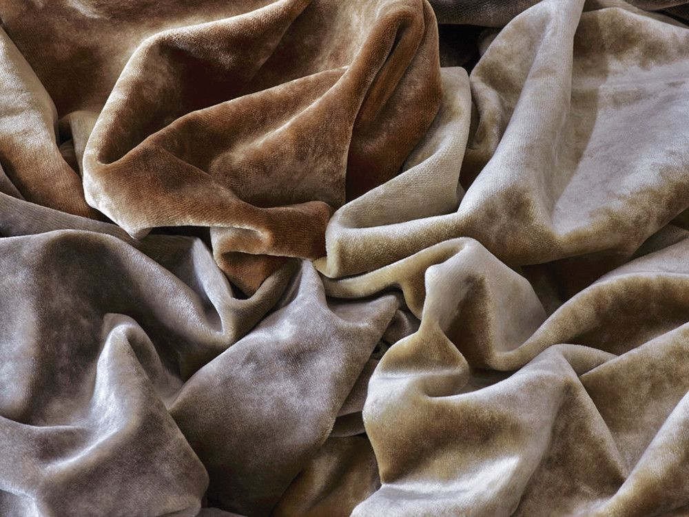 Part of the Wild Tranquility collection, Cavalier velvets come in a variety of soft metallic shades.